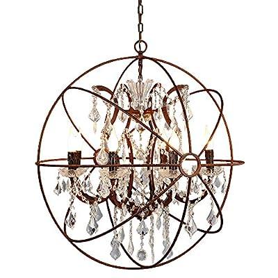 JinYuZe Industrial 6-Light Orb Chandelier,Retro Loft Clear Crystal Hanging Ceiling Pendant Lamp,Sphere Rust Metal Globe Light Fixture