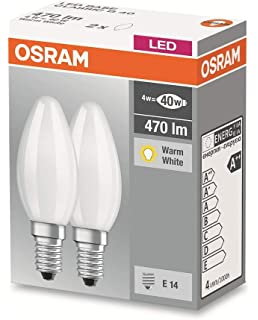 Osram Base Clasic B Bombilla LED E14, 4 W, Blanco, 2 unidades