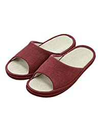 Unisex Slip-on Slippers Happy Lily Non-slip Open Toe Sandal COTTON&LINEN Mules Moisture Wicking Flax Shoes, Men's Size