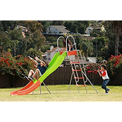 SLIDEWHIZZER Outdoor Play Set Kids Slide: 10 ft Freestanding Climber, Swingsets, Playground Jungle Gyms Kids Love – Above Ground Pool Slide for Summer Backyard: Sports & Outdoors