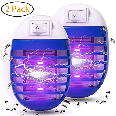 Athemo 2 Pack Bug Zapper, Plug in Electronic Insect Trap, Mosquito Killer Lamp Eliminates Most Flying Pests with Night Light