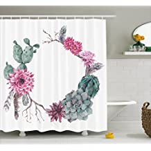Succulent Shower Curtain by Ambesonne, Summer Vintage Floral Wreath Boho Chic Style Branches Feathers, Fabric Bathroom Decor Set with Hooks, 75 Inches Long, Sage Green Light Pink Mauve