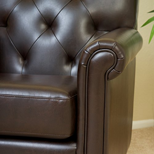 Best Selling Valencia Tufted Leather Club Chair, Brown