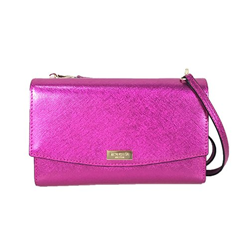 (Kate Spade Laurel Way Winni Metallic Leather Clutch Crossbody Bag, Baja Rose)