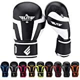 Elite Sports New Item Standard Kids Kickboxing, Muay Gel Thai Sparring Training Boxing Gloves (White 4oz)