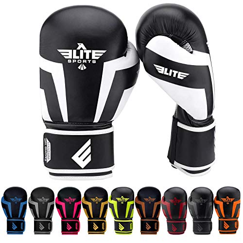 Glove Girls Elite (Elite Sports New Item Standard Adult Kickboxing, Muay Thai Sparring Training Boxing Gloves, White, 10 oz.)