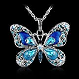 by lucky Antique Silver Butterfly Colorful Crystal Pendant Choker Sweater Necklace Chain