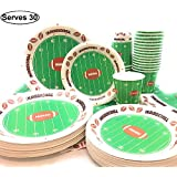 "Football Theme Touchdown party supplies for 30 Guests, Includes 30-7"" Snack/Dessert Plates, 30-9"" Dinner Plates, 30 - Napkins, 30 Cups, Ideal for Football Games, Birthday Party, Super Bowl"