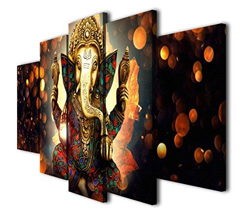 HQ Art 5 Pcs Hindu God Ganesha Painting Printed Canvas Wall Art Picture Home Décor Gift (SIZE 3: 12x20inx2pcs, 12x28inx2pcs, 12x32inx1pc, No Framed)