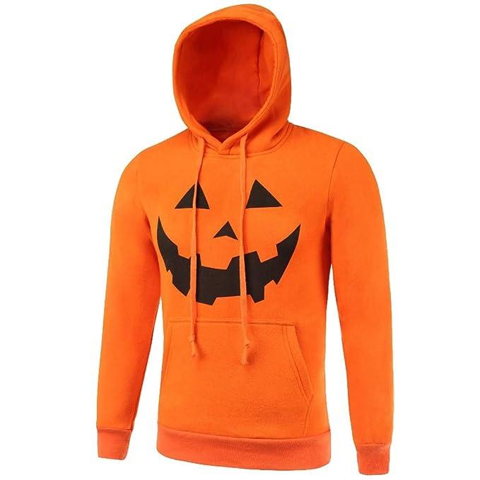 Cebbay Liquidación Sudadera con Capucha de Halloween para Hombre Camisa de Entrenamiento Calabaza de Bolsillo Grande
