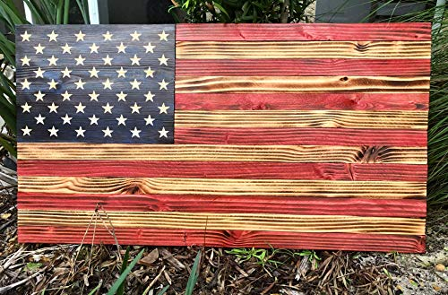 (American Wood Flag | USA | Rustic Wall Art | 100% Handmade | Each Star Carved by Hand | 36