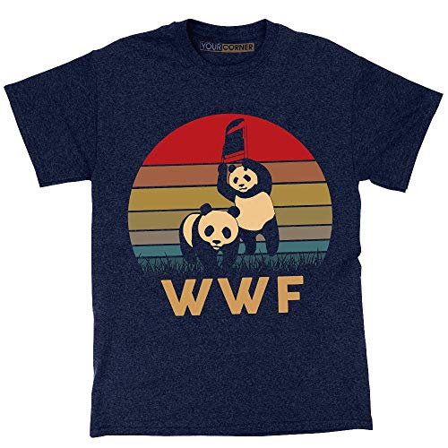 WWF Panda Vintage Retro T-Shirt WWE Wrestling Navy