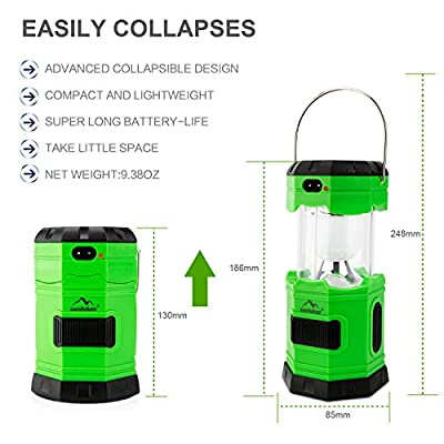 Camping Light, Solar Rechargeable Collapsible LED Camping Lantern Flashlight with COMPASS, Portable Water Resistant Outdoor Survival Lamp for Hiking Fishing Emergency Charging for Android Cellphone