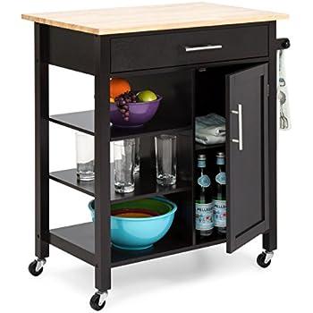 Amazon.com: BBBuy Wood Kitchen Storage Island Cart Dining Trolley ...