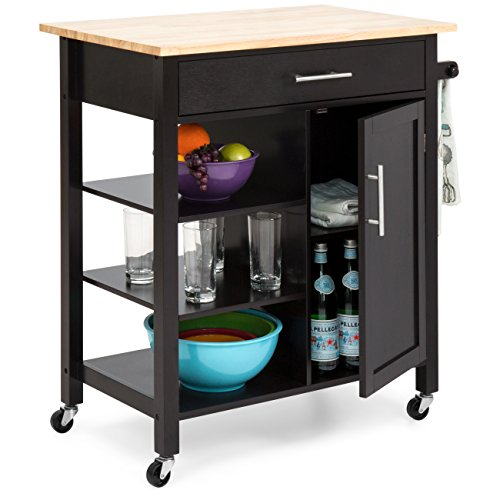 Adjustable Kitchen Cart - Best Choice Products Utility Kitchen Island Cart w/Wood Top, Drawer, Shelves & Cabinet for Storage - Espresso