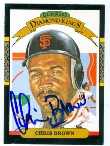 Autograph Warehouse 62378 Chris Brown Autographed Baseball Card San Francisco Giants 1987 Donruss Diamond Kings No. 11 Slight Smudge Deceased