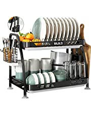 2 Tier Dish Drying Rack MAJALIS Large Stainless Steel Dish Drainer with Utensil Holder & Cutting Board & 3 Drainboard Set for Kitchen Counter (Black)