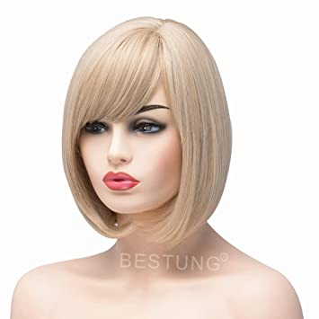 BESTUNG Short Bob Straight Blonde Mixed Wigs for Women Ladies Synthetic  Full Hair Natural Honey Ash 58e883bbe