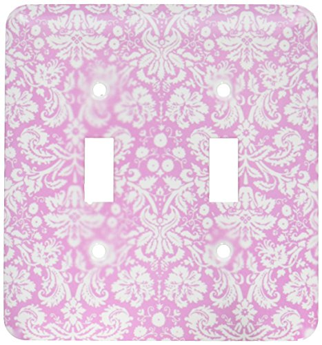 (3dRose lsp_151451_2  Antique Rose Pink and White Damask Pattern Victorian Fancy Vintage Swirls Girly Stylish Girls Double Toggle Switch)
