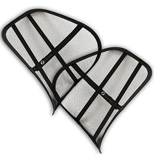 Zone Tech Set of 2 PosturePro Mesh Office Chair & Car Seat Lumbar Back Support (Almost Decks Tech)