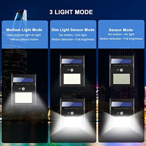 Luce Solare LED Esterno[4 Pezzi ] 42 LED IP65 Impermeabile 3 Modalità per Giardino,Parete Sensore di Movimento Parete Wireless Risparmio [Classe di efficienza energetica A+++]