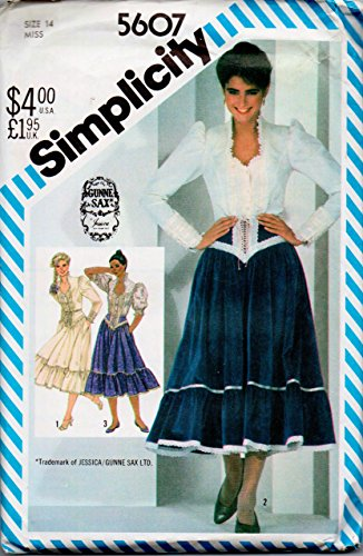 - Simplicity 5607 Vintage Gunne Sax Jessica Mcclintock Laced Yoke Flounced Trimmed Back Zip Skirt with Princess Seamed Trimmed Funnel Neckline Blouse with Button Band and Cuffed Long Sleeves Gathered At Crowns