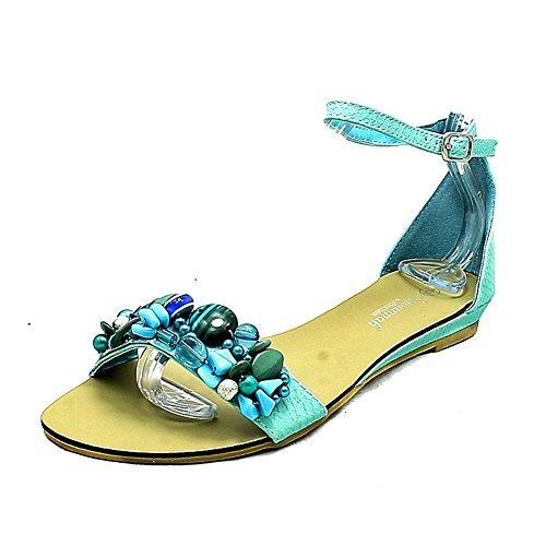 Damen flache Sandalen mit Perlen vorne und Knöchelriemen Blue