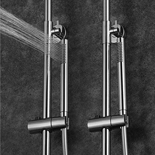 BXU-BG サーモスタットレインシャワーシステム、8インチのシャワーヘッドを備えたバスルームのシャワーミキサーセット、ハンドヘルドシャワー、10インチ