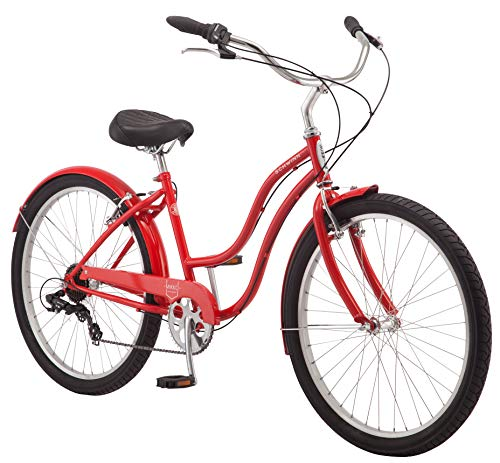Schwinn Mikko Women's Cruiser Bike, Featuring 17-Inch/Medium Steel Frame, Seven-Speed Drivetrain, Full Front and Rear Fenders, and 26-Inch Wheels, Red