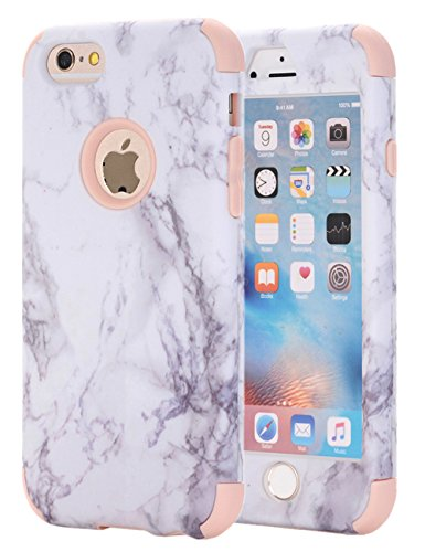iPhone 6S Case, iPhone 6 Case, KAMII White Marble Stone Pattern Shockproof 2in1 Dual Layer TPU Bumper Hard PC Hybrid Defender Armor Case Cover for Apple iPhone 6/ 6S 4.7inch (Rose Gold)