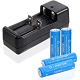 3.7V 18650 Rechargeable Li-ion Batteries with Dual Smart Lithium Battery Charger,High Capacity for flashlights and other high drain devices (4 Pcs, Blue)