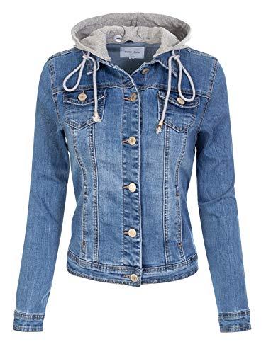 Design by Olivia Women's Classic Casual Detachable Hooded Denim Jacket Medium Denim M