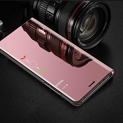 Funda Samsung Galaxy A8 Plus 2018, Carcasas para Galaxy A8 Plus 2018, LEMAXELERS Galaxy A8 Plus 2018 Funda de lujo con espejo Caja de maquillaje con marco de cuero de la PU Flip Bookstyle Funda con bi Mirror PU : Rose