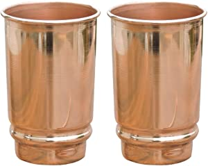 HealthGoodsIn - Pure Copper (99.74%) Tumbler Set of 2 | Traveller's Copper Glass for Serving Water | 350 Ml (11.8 US Fluid Ounce) Capacity