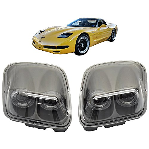 Lights Fits 1997-2004 Chevy Corvette C5 | Headlights Projector Lamp Black Dual LED Halo Rims by IKON MOTORSPORTS |  1998 1999 2000 2001 2002 2003