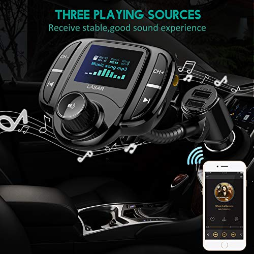 """LASAR Bluetooth FM Transmitter,Wireless Radio Adapter Hands-Free Calling Car Kit QC3.0 and Smart Dual USB Port W 1.7"""" Display, Support USB Drive,AUX Input/Output, TF Card MP3 Player by LASAR (Image #5)"""
