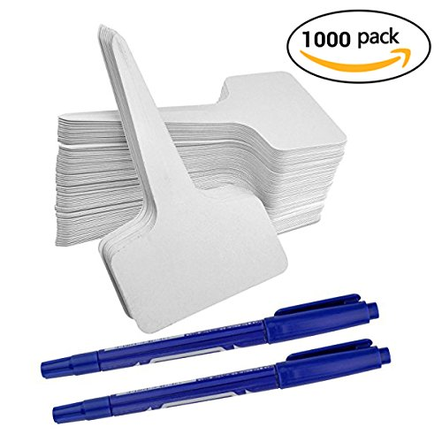 1000Pcs Plant Tags, Ishua Garden Nursery Labels Plastic Pot Stakes 2.36'' x 3.94'' inch Grayish White, T-type Tags Markers for Greenhouse Humidity Dome Orchard Botanical (White Garden Stake)