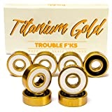 Trouble Skateboards Precision Bearings for Skateboard Longboard Roller Blade | Titanium Gold | Fast since 1996 (TB3)