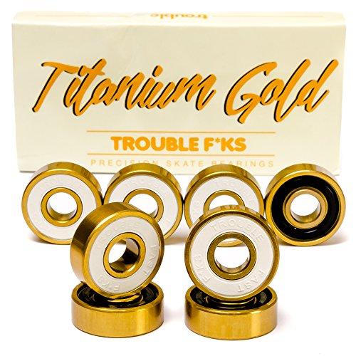 Gold Skateboard Bearings - Trouble Skateboards Precision Bearings for Skateboard Longboard Roller Blade | Titanium Gold | Fast since 1996 (TB3)