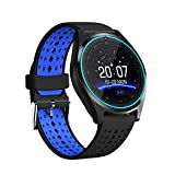 TechCode Smart Bracelet Running, Smart Wrist Watch with Heart Rate Monitor Bluetooth Sport Watch Dial Activity Tracker with Steps Calorie Counter for Women Men Compatible with iOS Android(BK-Blue)
