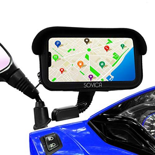 Sovica Soporte movil Moto Bicicleta Bici Impermeable Funda Protectora Visera antireflejos Valida para Smartphones hasta 7 2 sujecion al Espejo retrovisor irrompible Soporte para movil Bicicleta