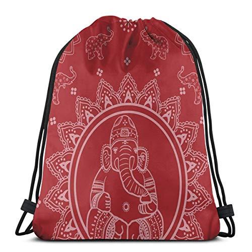 Unisex Drawstring Bag Gym Bags Storage Backpack,Elephants Diwali Traditions Sacred Round Sun Illustration Oriental