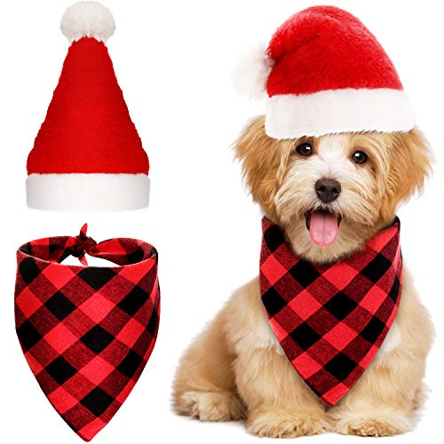 SATINIOR 2 Pieces Christmas Pet Accessories Set Include Dog Santa Hat Dog Bandana Plaid Triangle Scarf (S)