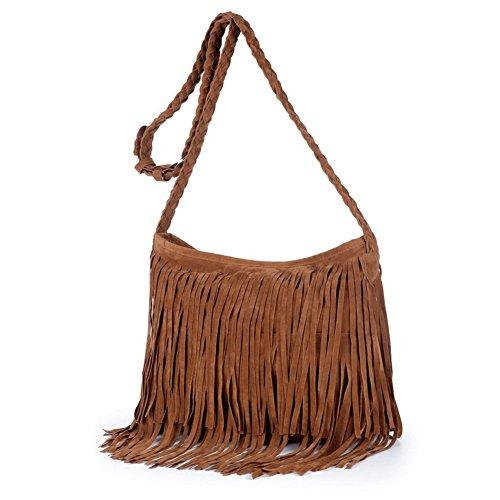 (Jiaruo Girls Scrub Sling Leather Woven Mini Buckets bags Crossbody Bag Flap (brown))