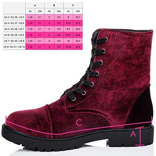 SPYLOVEBUY MOSH Mujer Cordone Planos Botes Bajas Zapatos Rojo - Terciopelo Sintética