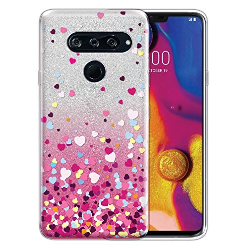 FINCIBO Case Compatible with LG V40 ThinQ 6.4 inch, Shiny Sparkling Silver Pink Gradient 2 Tone Glitter TPU Protector Cover Case for LG V40 ThinQ - Falling Hearts ()