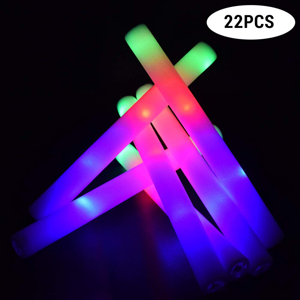 LifBetter 20+2 PCS/Pack 16'' LED Foam Glow Sticks, 3 Modes Flashing Multicolor Light Up Batons Party Supplies, Festivals, Raves, Birthdays, Children Toy