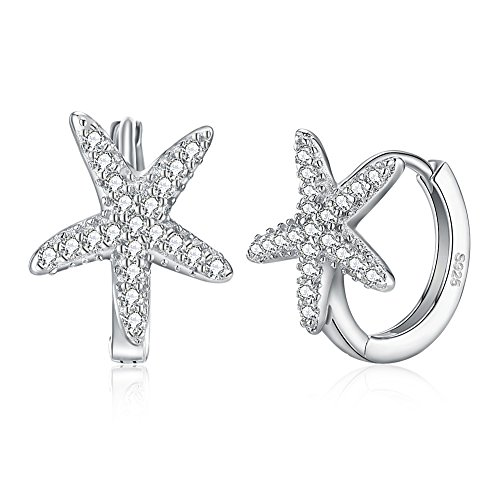 Dtja Starfish CZ Small Hoop Earrings for Women Girls 925 Sterling Silver Cubic Zirconia Star Huggie Hypoallergenic Fashion Jewelry Birthday Gifts
