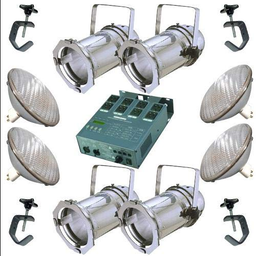 4 Silver PAR CAN 64 500w WFL Bulbs C-Clamp Dimmer