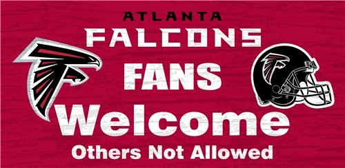 Atlanta Falcons Hall Of Fame - Atlanta Falcons Wood Sign - Fans Welcome 12''x6''